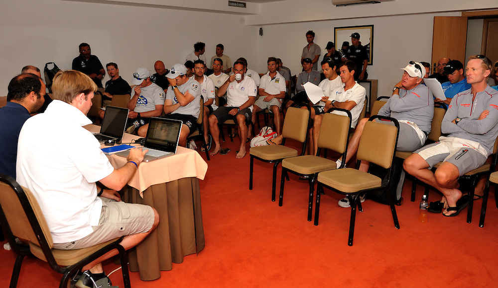 The skippers briefing in Portimao. Photo:Chris Davies/WMRT