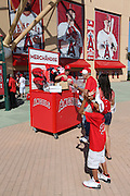 ANAHEIM, CA - JUNE 6:  Fans buy memorabilia before the Los Angeles Angels of Anaheim game against the Chicago White Sox at Angel Stadium on Friday, June 6, 2014 in Anaheim, California. The Angels won the game 8-4. (Photo by Paul Spinelli/MLB Photos via Getty Images)