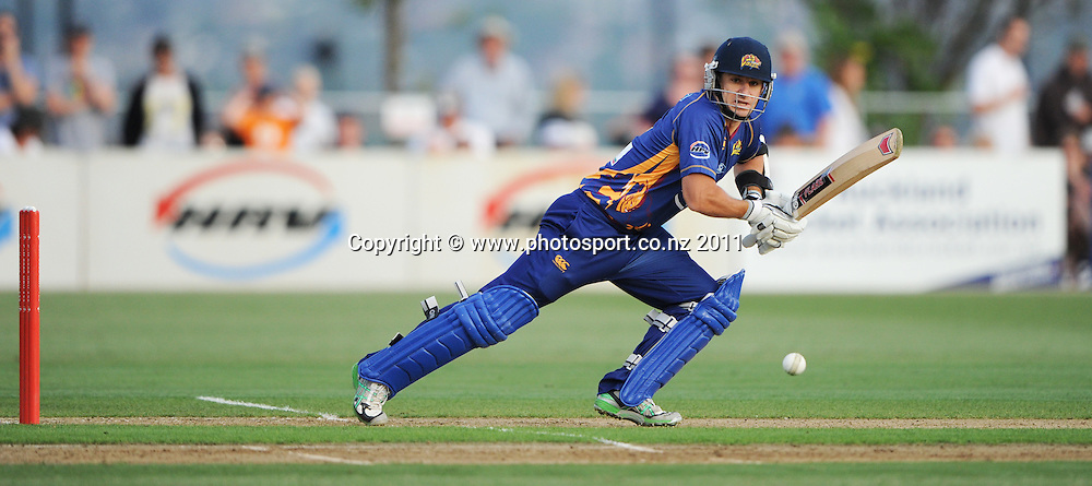 Otago's Nathan McCullum batting during the HRV Twenty20 Cricket match between the Auckland Aces and Otago Volts at Colin Maiden Oval in Auckland, New Zealand on Friday 6 January 2012. Photo: Andrew Cornaga/Photosport.co.nz