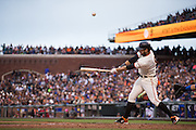 San Francisco Giants first baseman Brandon Belt (9) pops a foul ball out of the park against the New York Mets at AT&T Park in San Francisco, Calif., on August 21, 2016. (Stan Olszewski/Special to S.F. Examiner)