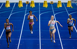 Muna Lee (USA), Beatriz Mangue (GEQ), Pia Tajnikar of Slovenia  and Pauline Kwalea (SOL) compete in the women's 100 Metres Heats during day two of the 12th 2009 IAAF Athletics World Championships on August 16, 2009 in Berlin, Germany. (Photo by Vid Ponikvar / Sportida)