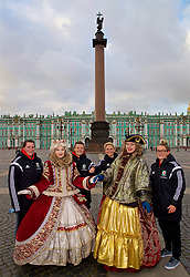 SAINT PETERSBURG, RUSSIA - Monday, October 23, 2017: Wales' Helen Ward, Hayley Ladd, Jessica Fishlock and Rachel Rowe pose for a portrait in Palace Square outside the Winter Palace ahead of the FIFA Women's World Cup 2019 Qualifying Group 1 match between Russia and Wales. (Pic by David Rawcliffe/Propaganda)