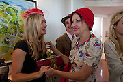TINA HOBLEY; DANNY GOFFEY;  PEARL LOWE, Glorious Goodwood. Ladies Day. 28 July 2011. <br /> <br />  , -DO NOT ARCHIVE-© Copyright Photograph by Dafydd Jones. 248 Clapham Rd. London SW9 0PZ. Tel 0207 820 0771. www.dafjones.com.