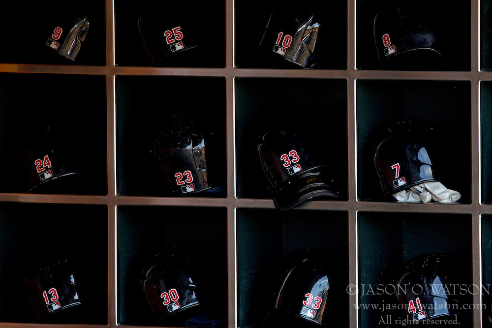 SAN FRANCISCO, CA - APRIL 26:  General view of Cleveland Indians batting helmets in the dugout before the game against the San Francisco Giants at AT&T Park on April 26, 2014 in San Francisco, California. The San Francisco Giants defeated the Cleveland Indians 5-3.  (Photo by Jason O. Watson/Getty Images) *** Local Caption ***