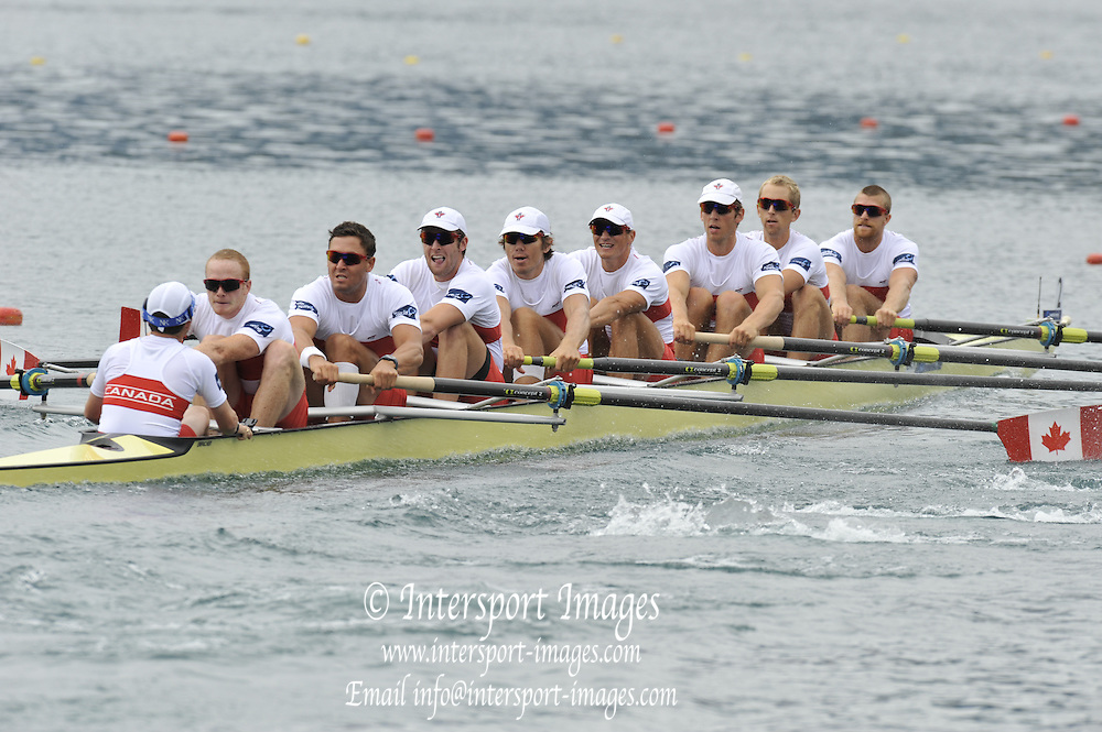 Bled, SLOVENIA. CAN M8=, Bow Gabriel BERGAN, Douglas CSIMA, Jeremianh BROWN, Conlin MCCABE, Macolm HOWARD, Andrew BYRNES, Robert GIBSON, Will CROTHERS and Brian PRICE, start. Heats  First Day.  2011 FISA World Rowing Championships, Lake Bled. Sunday  28/08/2011  [Mandatory Credit; Peter Spurrier/ Intersport Images]   Adaptive.