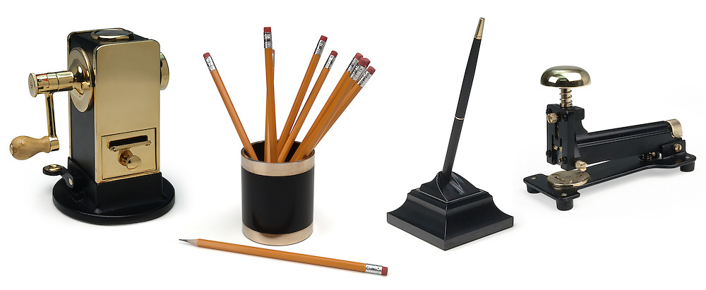 pencil sharpener, pencil holder, pencil, pen, stapler on white background