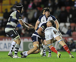 Bristol Rugby's replacement, Jake Polledri challenges London Scottish number 8, James Chisholm - Photo mandatory by-line: Dougie Allward/JMP - Mobile: 07966 386802 - 05/12/2014 - SPORT - Rugby - Bristol - Ashton Gate - Bristol Rugby v London Scottish - B&I Cup