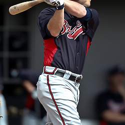 March 4, 2011; Viera, FL, USA; Atlanta Braves left fielder Matt Young (17) during a spring training exhibition game against the Atlanta Braves at Space Coast Stadium.  Mandatory Credit: Derick E. Hingle