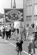 Barnsley Miners Wives Action Group banner at the 99th Yorkshire Miners Gala. 1986 Doncaster.