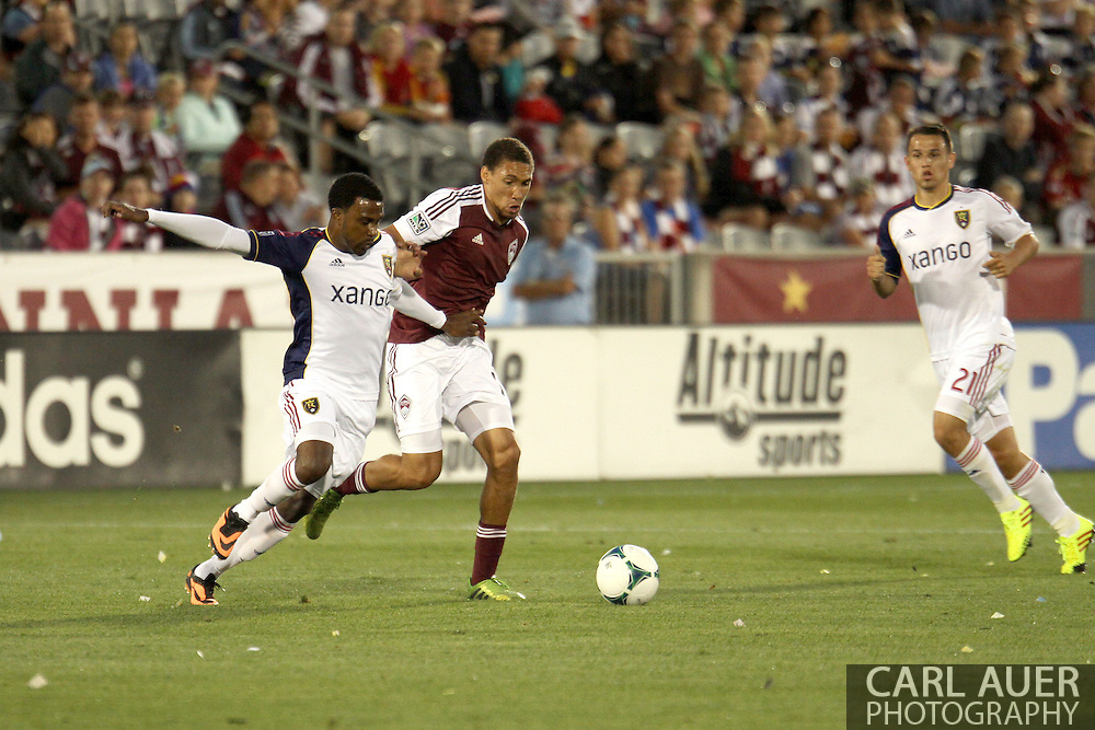 August 3rd, 2013 - Real Salt Lake forward Robbie Findley (10) and Colorado Rapids defender Chris Klute (15) fight for control of the ball in the first half of action in the Major League Soccer match between Real Salt Lake and the Colorado Rapids at Dick's Sporting Goods Park in Commerce City, CO