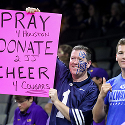 Sep 2, 2017; New Orleans, LA, USA; Brigham Young Cougars fans hold up a sign in support of Houston before the AdvoCare Texas Kickoff game LSU Tigers at the Mercedes-Benz Superdome. Mandatory Credit: Derick E. Hingle-USA TODAY Sports