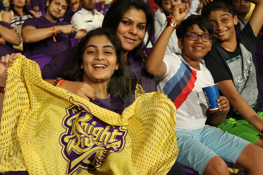 fans enjoying during match ten of the Vivo Indian Premier League 2018 (IPL 2018) between the Kolkata Knight Riders and the Sunrisers Hyderabad held at the Eden Gardens Cricket Stadium in Kolkata on the 14th April 2018.<br /> <br /> Photo by Saikat Das / IPL/ SPORTZPICS
