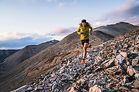 Joe Grant heads down the Mount Sherman ridgeline into Iowa Gulch, Leadville, Colorado.