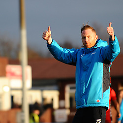TELFORD COPYRIGHT MIKE SHERIDAN 1/1/2019 - Gavin Cowan gives Bucks fans the thumbs up after the Vanarama Conference North fixture between AFC Telford United and Nuneaton Borough FC.