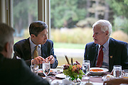 President Destler has lunch with Dr. Shou Chen, Vice President of Hunan University in China, at Liberty Hill on Saturday, October 25, 2014. Representatives from the university were visiting to sign an agreement to open a join school of design in Shenzen, China.