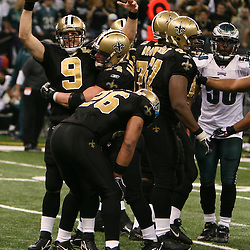 13 January 2007: New Orleans Saints quarterback Drew Brees (9) celebrates with fullback Mike Karney (44) as time runs out in the fourth quarter during a 27-24 win by the New Orleans Saints over the Philadelphia Eagles in the NFC Divisional round playoff game at the Louisiana Superdome in New Orleans, LA. The win advanced the New Orleans Saints to the NFC Championship game for the first time in the franchise's history.
