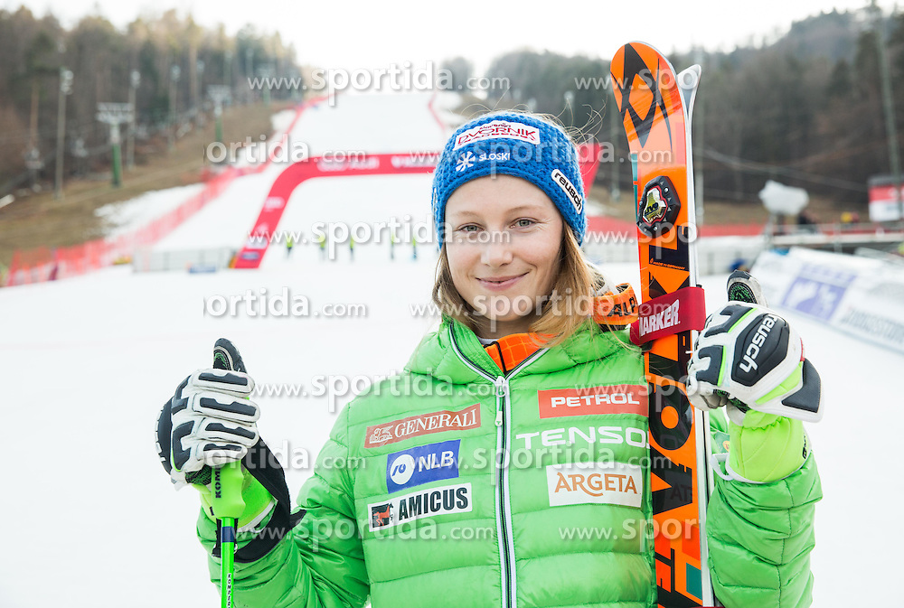 Second placed Ana Drev (SLO) posing after the 7th Ladies' Giant slalom at 52nd Golden Fox - Maribor of Audi FIS Ski World Cup 2015/16, on January 30, 2016 in Pohorje, Maribor, Slovenia. Photo by Vid Ponikvar / Sportida