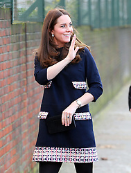 Catherine, Duchess of Cambridge arriving at the Barlby Primary School in west London, UK. 15/01/2015<br /> BYLINE MUST READ : JAMESY/GOTCHA IMAGES<br /> <br /> Copyright by © Gotcha Images Ltd. All rights reserved.<br /> Usage of this image is conditional upon the acceptance <br /> of Gotcha Images Ltd, terms and conditions available at<br /> www.gotchaimages.com