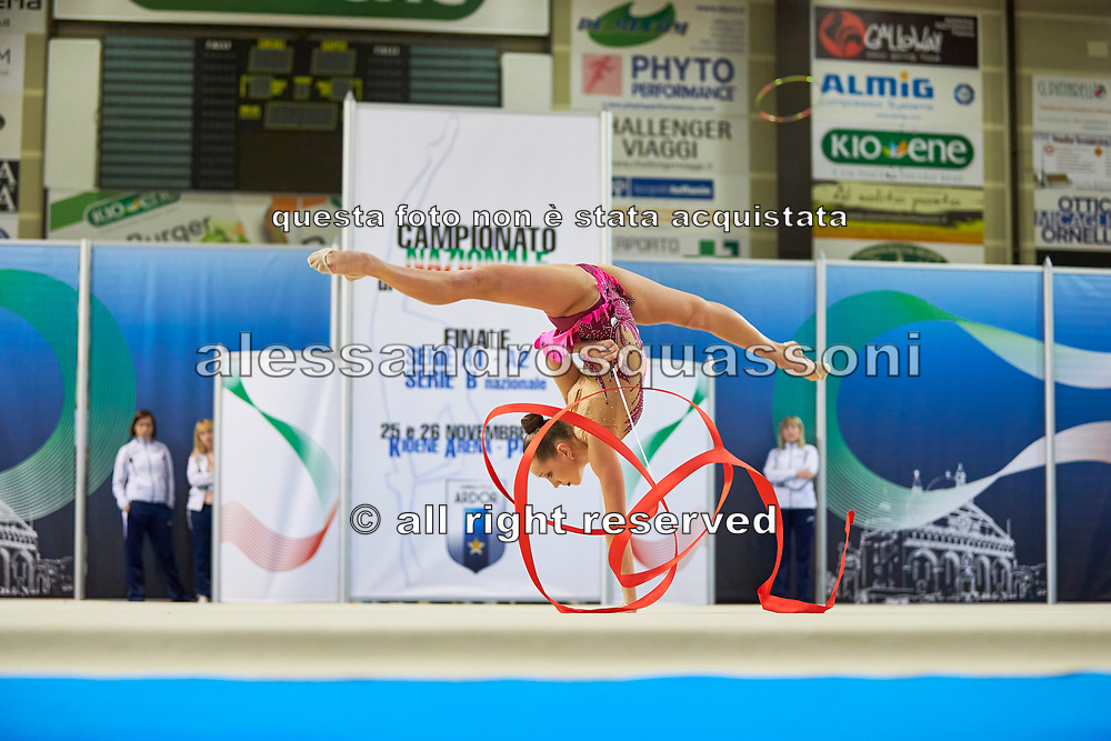 Khonina Polina from Nervianese team during the Italian Rhythmic Gymnastics Championship in Padova, 25 November 2017.