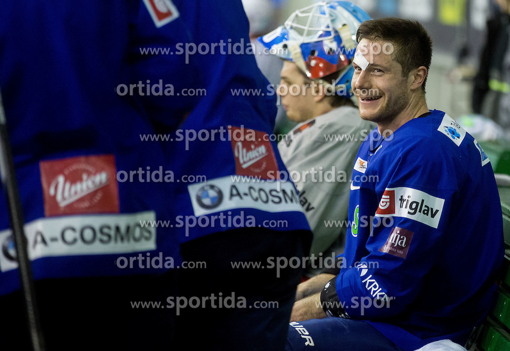 Injured Jan Urbas during practice session of Slovenian National Ice Hockey Team prior to the IIHF World Championship in Ostrava (CZE), on April 21, 2015 in Hala Tivoli, Ljubljana, Slovenia. Photo by Vid Ponikvar / Sportida