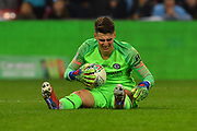 Kepa Arrizabalaga (1) of Chelsea down in pain with cramp during the Carabao Cup Final match between Chelsea and Manchester City at Wembley Stadium, London, England on 24 February 2019.