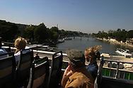 France. Paris. 4th district.  tourist bus on the pont neuf
