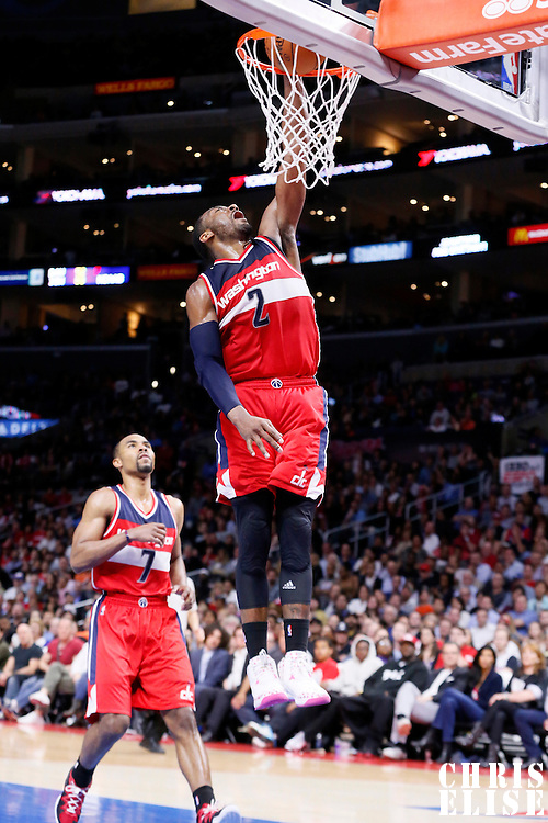 20 March 2015: Washington Wizards guard John Wall (2) dunks the ball during the Los Angeles Clippers 113-99 victory over the Washington Wizards, at the Staples Center, Los Angeles, California, USA.