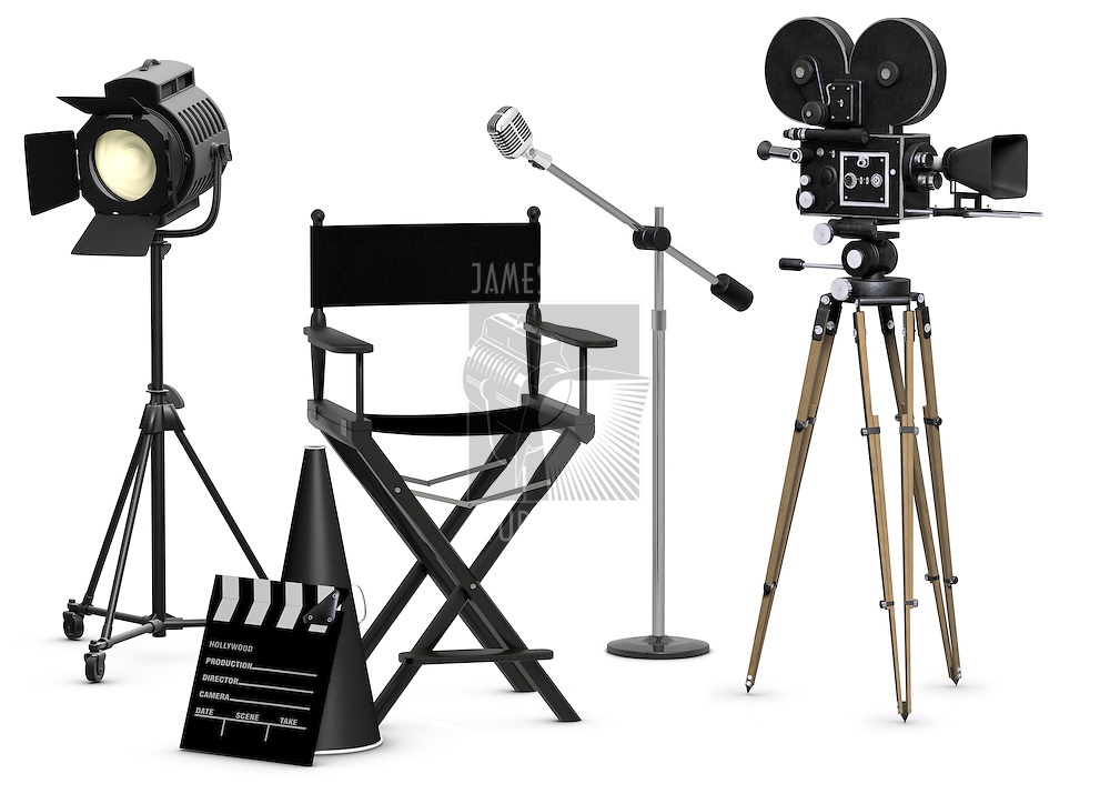 Empty movie set with vintage movie gear on a white background