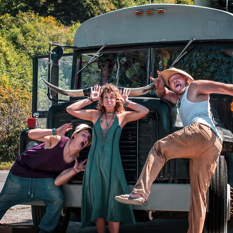 Portrait of some young, modern folks traveling in a bus called the Black Pearl in the redwoods.