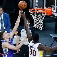 08 October 2017: Sacramento Kings guard Bogdan Bogdanovic (8) goes for the layup against Los Angeles Lakers forward Julius Randle (30) during the LA Lakers 75-69 victory over the Sacramento Kings, at the T-Mobile Arena, Las Vegas, Nevada, USA.