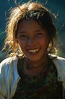 Nepal, region des Annapurna, jeune fille Gurung. // Nepal, Annapurna area, young Gurung girl.