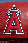 ANAHEIM, CA - APRIL 26:  The Los Angeles Angels of Anaheim logo is on display outside the stadium at the Angels game against the Seattle Mariners at Angel Stadium on Sunday, April 26, 2009 in Anaheim, California.  The Angels shut out the Mariners 8-0.  (Photo by Paul Spinelli/MLB Photos via Getty Images)