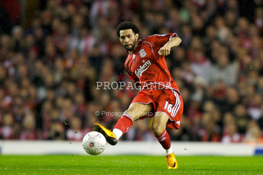 LIVERPOOL, ENGLAND - Tuesday, January 15, 2008: Liverpool's Jermaine Pennant in action against Luton Town during the FA Cup 3rd Round Replay at Anfield. (Photo by David Rawcliffe/Propaganda)