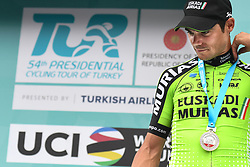 October 14, 2018 - Istanbul, Turkey - Eduard Prades Reverter of Spain and Euskadi Basque Country-Murias finishes second the sixth stage and wins the general classification of the 54th Presidential Cycling Tour of Turkey 2018. .On Sunday, October 14, 2018, in Istanbul, Turkey. (Credit Image: © Artur Widak/NurPhoto via ZUMA Press)