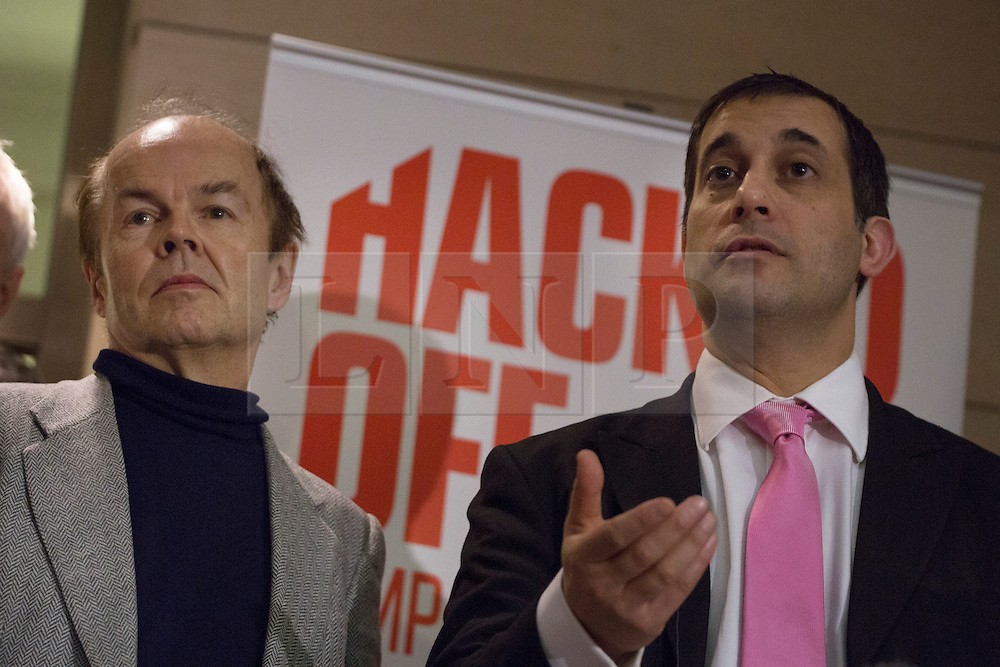 © licensed to London News Pictures. London, UK 21/11/2012. (L-R) Chris Jefferies and Dr Evan Harris. Representatives from Hacked Off, the campaign for reform of the UK's press, speaking to the media as they set to meet with Prime Minister David Cameron, Deputy Prime Minister Nick Clegg and Labour leader Ed Miliband, ahead of publication of the Leveson Inquiry's report. Photo credit: Tolga Akmen/LNP