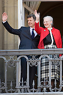 16.04.13. Copenhagen, Denmark.Queen Margrethe II celebrates her 73th birthday with her whole family, From left to right, Queen Margrethe II and Crownprince Frederik. The royal family appears on the balcony of Christian IX's Palace at Amalienborg Palace.Photo: © Ricardo Ramirez