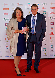 LIVERPOOL, ENGLAND - Tuesday, May 9, 2017: Former Liverpool player Roger Hunt and wife Rowan on the red carpet for the Liverpool FC Players' Awards 2017 at Anfield. (Pic by David Rawcliffe/Propaganda)