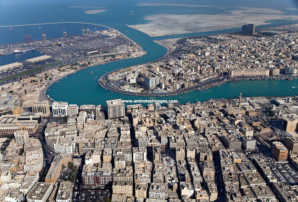 Dubai Creek, Bur Dubai and Deira from the air