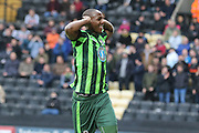Tom Elliott of AFC Wimbledon scores and Celebrates infront of the travelling fans during the Sky Bet League 2 match between Notts County and AFC Wimbledon at Meadow Lane, Nottingham, England on 23 January 2016. Photo by Stuart Butcher.