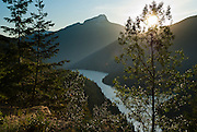 Sourdough Mountain (6120 feet / 1865 meters in North Cascades National Park) rises above Ruby Arm, in Ross Lake National Recreation Area, Washington, USA.