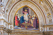Facade mosaic detail at the Cathedral of Santa Maria del Fiore (Duomo), Florence, Tuscany, Italy