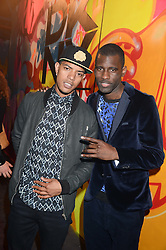 Left to right, rappers FAZER OF N-Dubz and WRETCH 32 at Club DNKY in celebration of #DKNYARTWORKS held at The Firestation, Lambeth High Street, London SE1 on 12th June 2013.