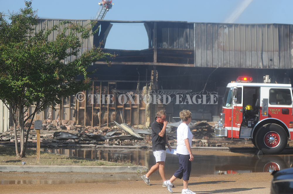 The Oxford Fire Department fights a fire at The Lanes, formerly Kiamie's, in Oxford, Miss. on Wednesday, September 22, 2010.