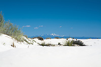 White Sands National Monument and the snowy peak of Sierra Blanca in the distance.
