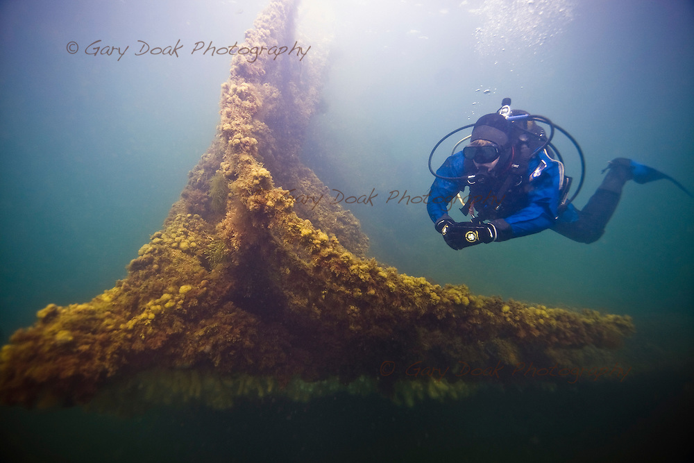 Diving the wrecks of the blockships at barrier number 2, the Churchill Barriers, Scapa Flow, Orkney.
