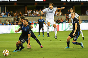 Philadelphia Union midfielder Alejandro Bedoya (11) watches his scoring shot roll past San Jose Earthquakes defender Guram Kashia (37) during an MLS soccer match won by Philadelphia 2-1, Wednesday, Sept. 25, 2019, in San Jose, Calif. (Peter Klein/Image of Sport)