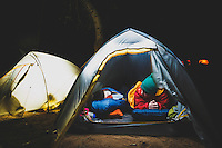 Josie and FynnWhite get ready for bed while camping in Havasu Canyon, AZ.