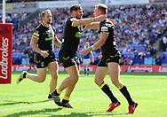 Kevin Brown of Warrington Wolves celebrates with team mate Joe Philbin after he scores the third try against Leeds Rhinos during the Ladbrokes Challenge Cup Semi Final match at the Macron Stadium Stadium, Bolton.<br /> Picture by Michael Sedgwick/Focus Images Ltd +44 7900 363072<br /> 05/08/2018