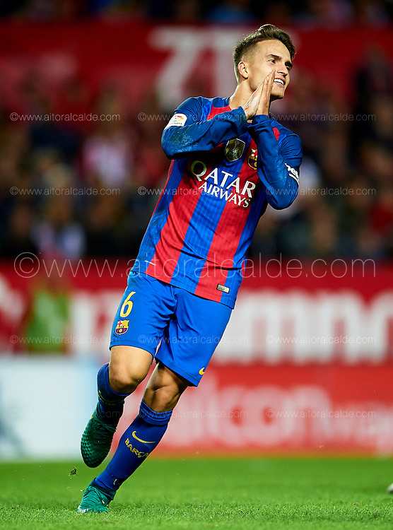 SEVILLE, SPAIN - NOVEMBER 06:  Denis Suarez of FC Barcelona reacts during the match between Sevilla FC vs FC Barcelona as part of La Liga at Ramon Sanchez Pizjuan Stadium on November 6, 2016 in Seville, Spain.  (Photo by Aitor Alcalde/Getty Images)