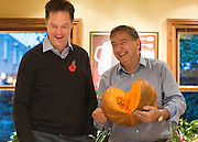 © Licensed to London News Pictures. 03/11/2014. Oxford, UK. NICK CLEGG and RAYMOND BLANC (R) To celebrate National School Meals Week (3-7 November), the Deputy Prime Minister, Nick Clegg, joins school children at Brasserie Blanc in Oxford to get some top cooking tips from Raymond Blanc. The visit is part of a larger national effort to raise awareness of and enhance children's relationship with food. The Deputy Prime Minister has called on celebrity chefs to lead the way by joining forces with school cooks to promote the great school lunch. School cooks up and down the country will be taking their skills out of the school kitchen to showcase to parents and pupils the variety and quality of food now being served in schools. National School Meals Week comes just months after the launch of free school meals for 2.8 million primary school children and the introduction of cooking in the curriculum.. Photo credit : Stephen Simpson/LNP